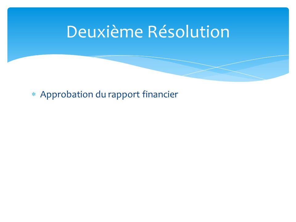 Approbation du rapport financier Deuxième Résolution