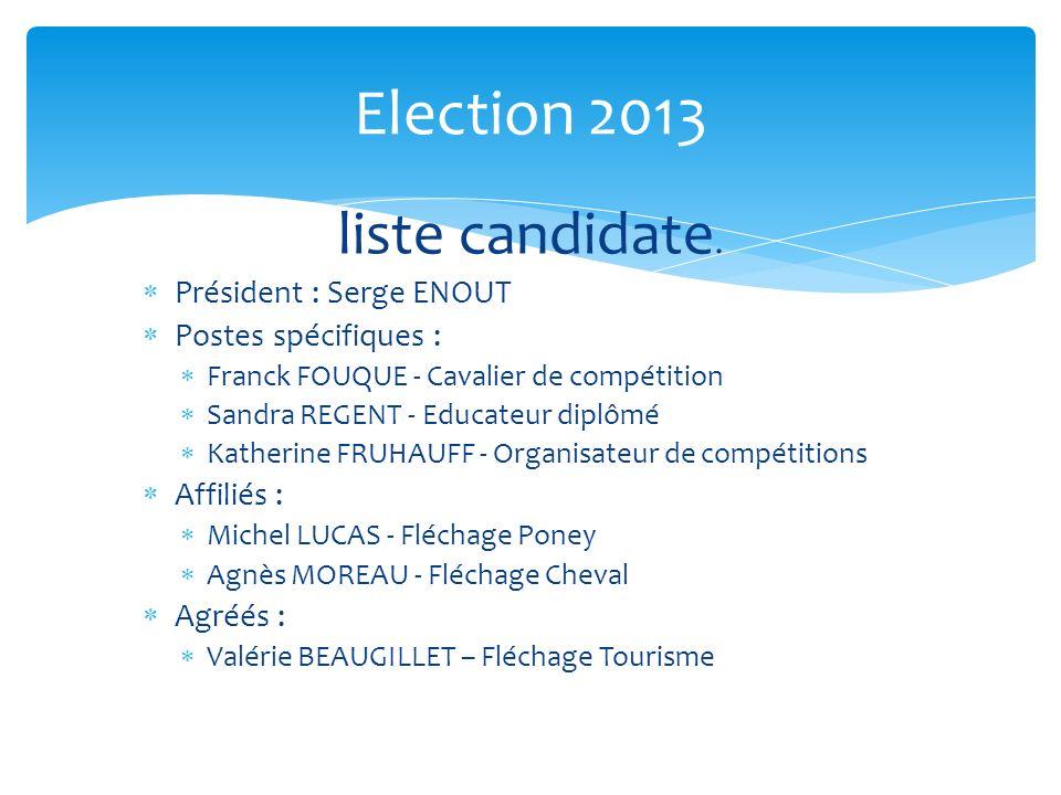 Election 2013 liste candidate. Président : Serge ENOUT Postes spécifiques : Franck FOUQUE - Cavalier de compétition Sandra REGENT - Educateur diplômé