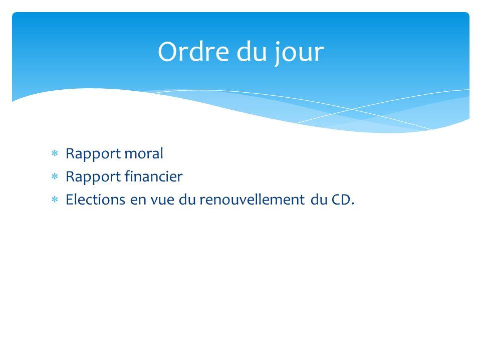 Rapport moral Rapport financier Elections en vue du renouvellement du CD. Ordre du jour