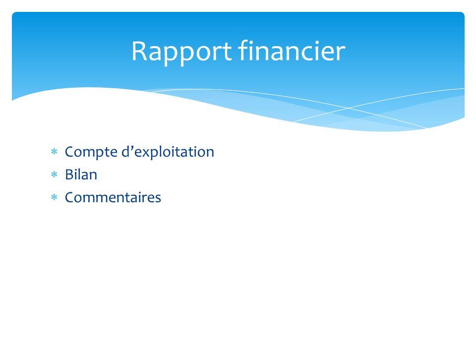 Compte dexploitation Bilan Commentaires Rapport financier