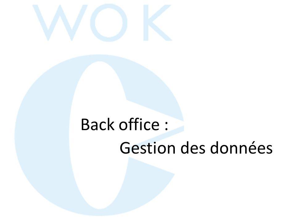 Back office : Gestion des données