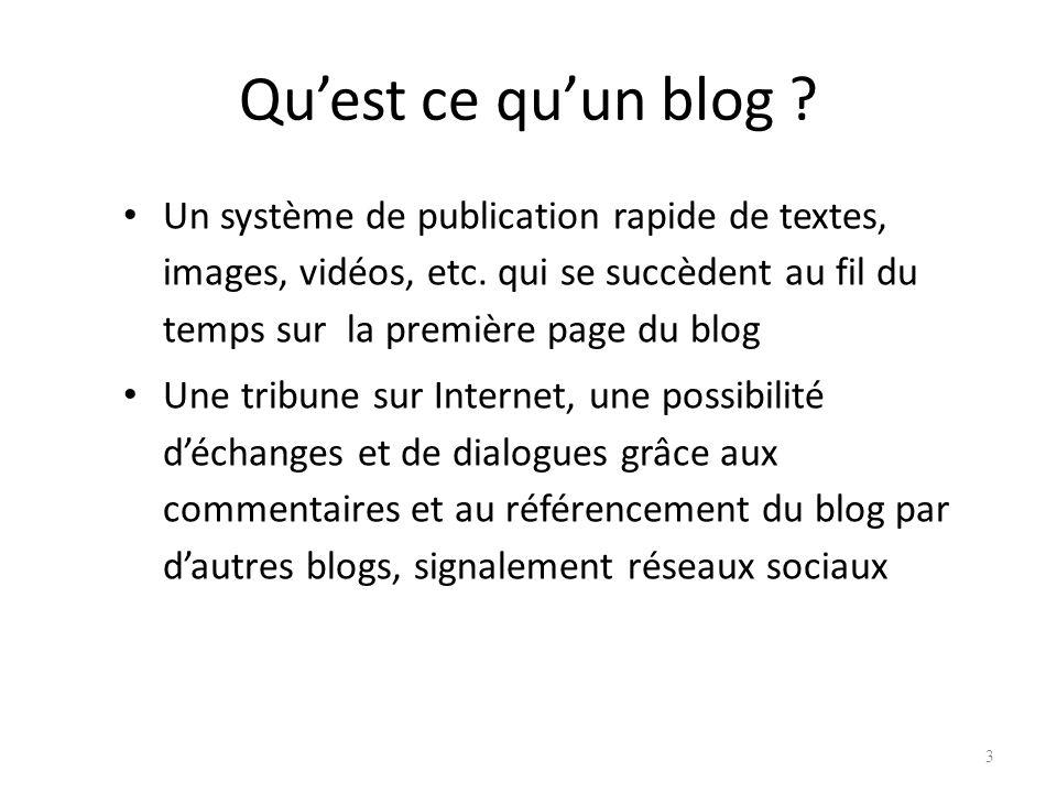 Quest ce quun blog .Un système de publication rapide de textes, images, vidéos, etc.