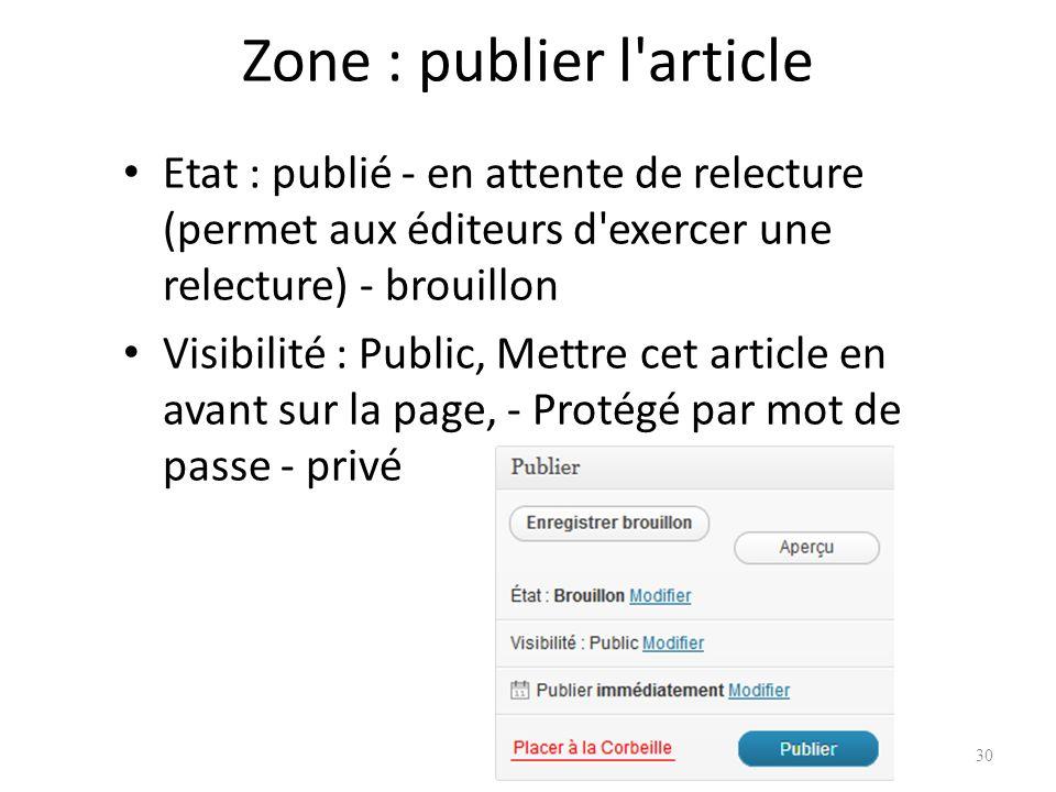 Zone : publier l article Etat : publié - en attente de relecture (permet aux éditeurs d exercer une relecture) - brouillon Visibilité : Public, Mettre cet article en avant sur la page, - Protégé par mot de passe - privé 30