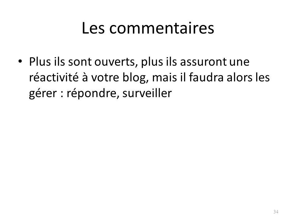 Les commentaires Plus ils sont ouverts, plus ils assuront une réactivité à votre blog, mais il faudra alors les gérer : répondre, surveiller 34