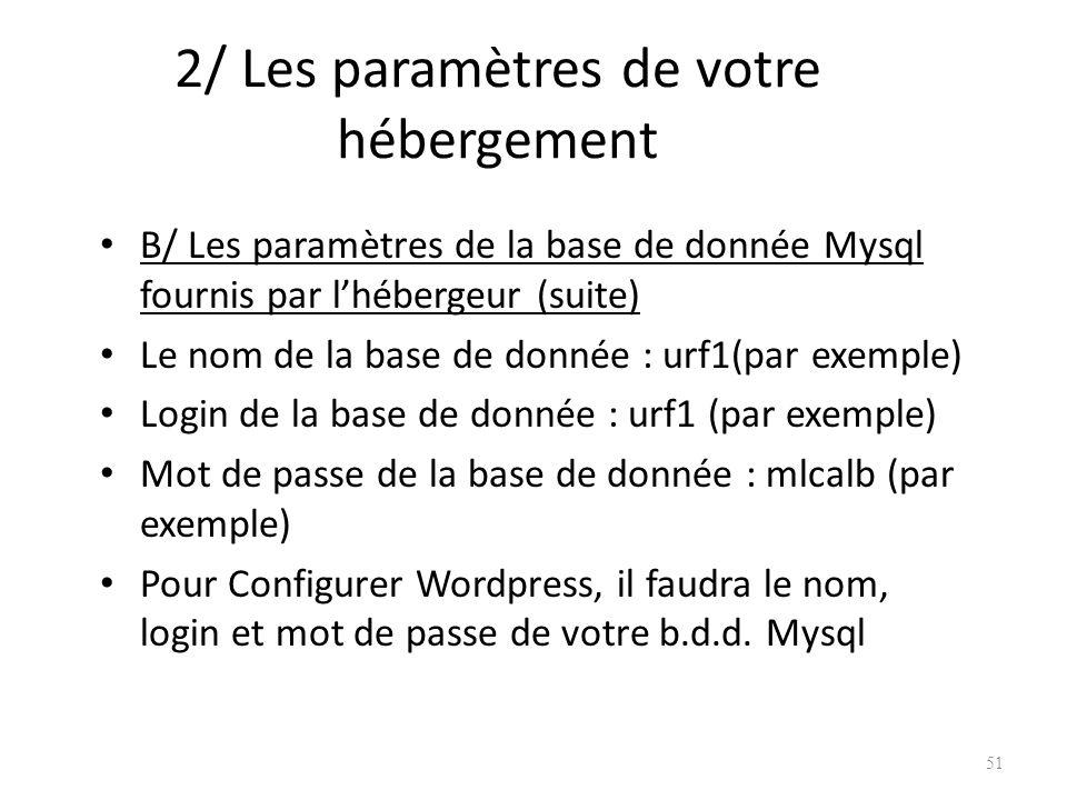 2/ Les paramètres de votre hébergement B/ Les paramètres de la base de donnée Mysql fournis par lhébergeur (suite) Le nom de la base de donnée : urf1(par exemple) Login de la base de donnée : urf1 (par exemple) Mot de passe de la base de donnée : mlcalb (par exemple) Pour Configurer Wordpress, il faudra le nom, login et mot de passe de votre b.d.d.