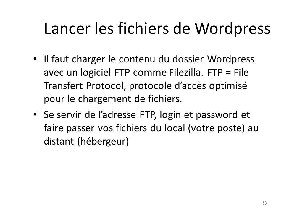 Lancer les fichiers de Wordpress Il faut charger le contenu du dossier Wordpress avec un logiciel FTP comme Filezilla.