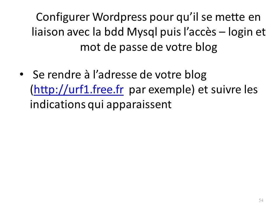 Configurer Wordpress pour quil se mette en liaison avec la bdd Mysql puis laccès – login et mot de passe de votre blog Se rendre à ladresse de votre blog (http://urf1.free.fr par exemple) et suivre les indications qui apparaissenthttp://urf1.free.fr 54