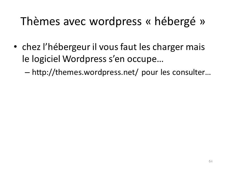 Thèmes avec wordpress « hébergé » chez lhébergeur il vous faut les charger mais le logiciel Wordpress sen occupe… – http://themes.wordpress.net/ pour les consulter… 64