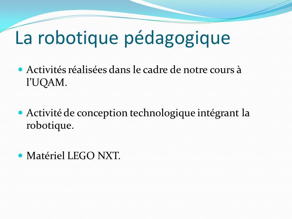 La robotique pédagogique Activités réalisées dans le cadre de notre cours à lUQAM. Activité de conception technologique intégrant la robotique. Matéri