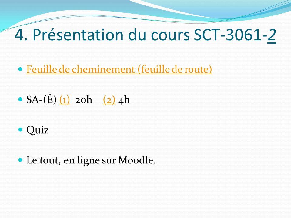 4. Présentation du cours SCT-3061-2 Feuille de cheminement (feuille de route) SA-(É) (1) 20h (2) 4h(1)(2) Quiz Le tout, en ligne sur Moodle.