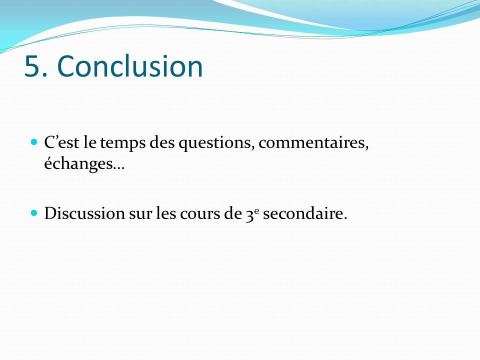 5. Conclusion Cest le temps des questions, commentaires, échanges… Discussion sur les cours de 3 e secondaire.