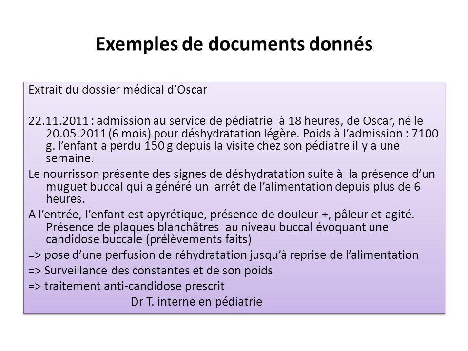 Exemples de documents donnés Extrait du dossier médical dOscar 22.11.2011 : admission au service de pédiatrie à 18 heures, de Oscar, né le 20.05.2011