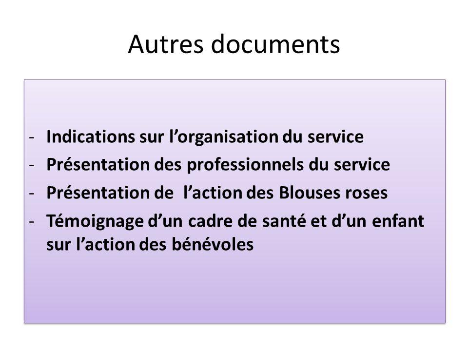 Autres documents -Indications sur lorganisation du service -Présentation des professionnels du service -Présentation de laction des Blouses roses -Tém