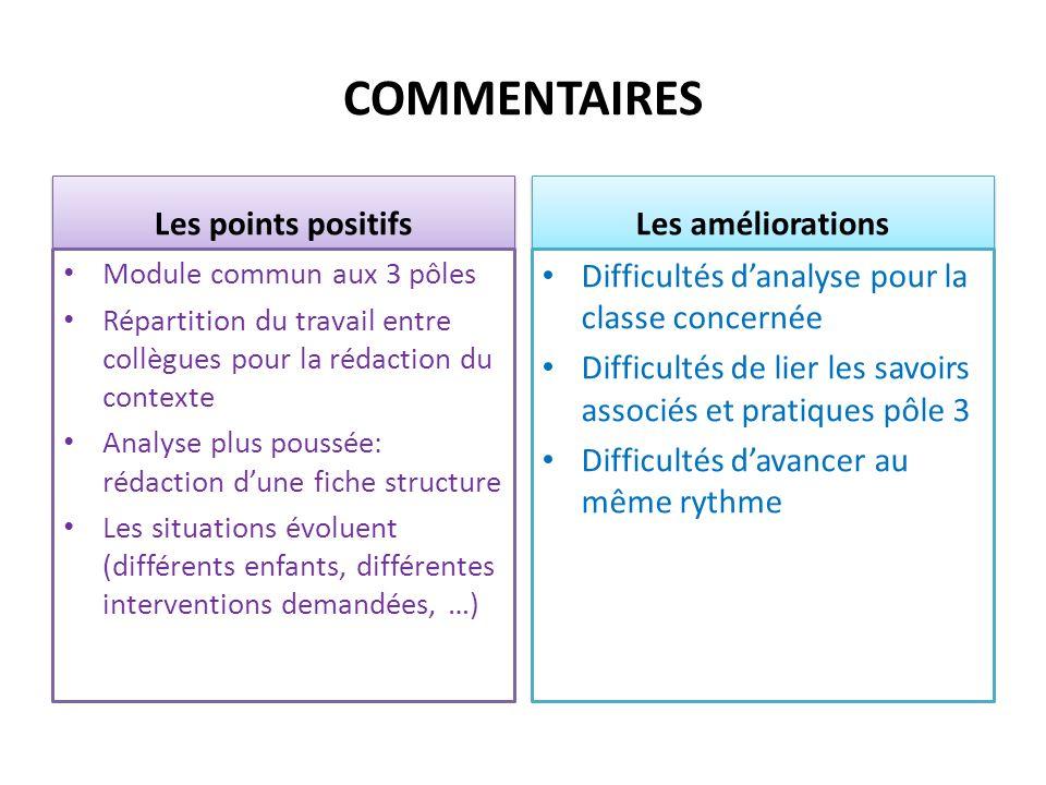 COMMENTAIRES Les points positifs Module commun aux 3 pôles Répartition du travail entre collègues pour la rédaction du contexte Analyse plus poussée: