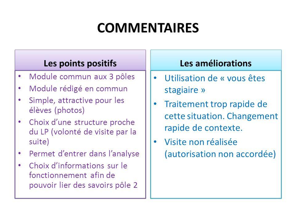 COMMENTAIRES Les points positifs Module commun aux 3 pôles Module rédigé en commun Simple, attractive pour les élèves (photos) Choix dune structure pr