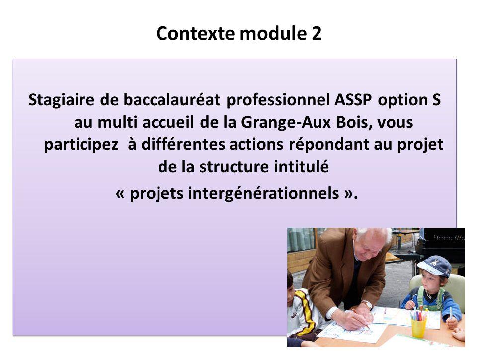 Contexte module 2 Stagiaire de baccalauréat professionnel ASSP option S au multi accueil de la Grange-Aux Bois, vous participez à différentes actions