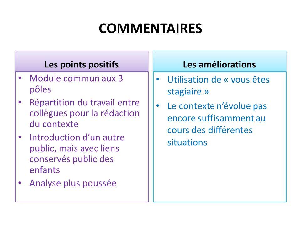 COMMENTAIRES Les points positifs Module commun aux 3 pôles Répartition du travail entre collègues pour la rédaction du contexte Introduction dun autre