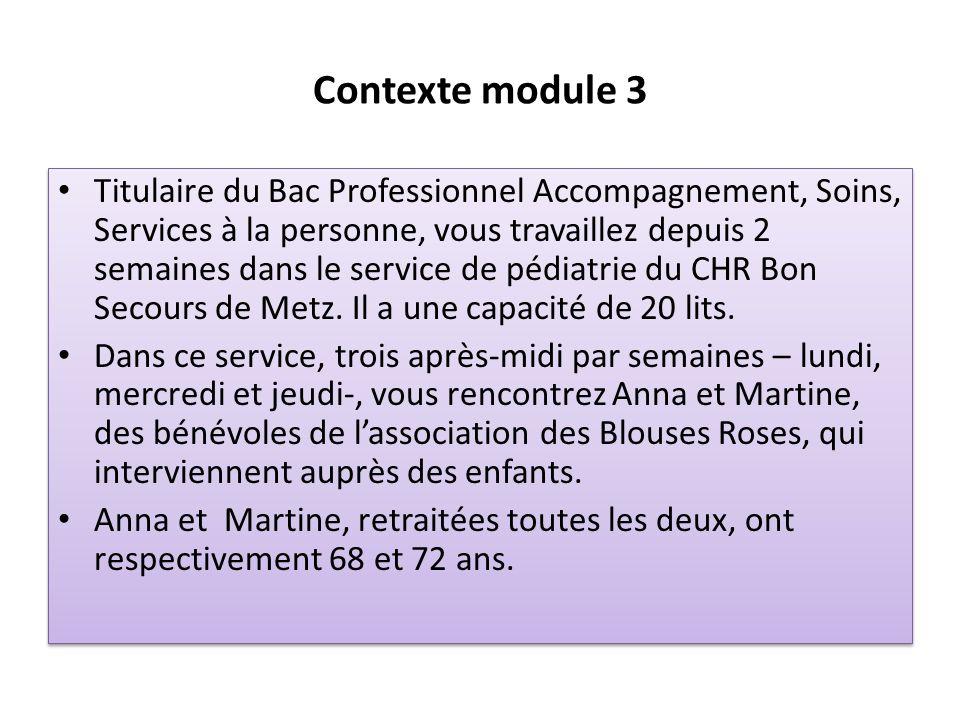 Contexte module 3 Titulaire du Bac Professionnel Accompagnement, Soins, Services à la personne, vous travaillez depuis 2 semaines dans le service de p