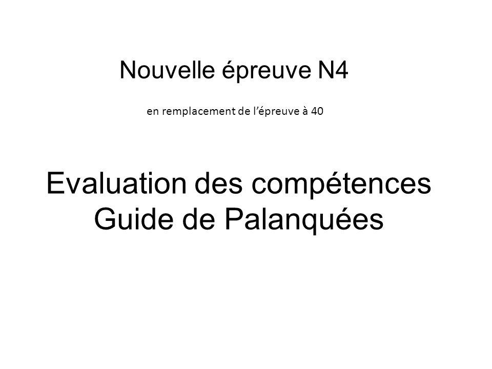 Nouvelle épreuve N4 en remplacement de lépreuve à 40 Evaluation des compétences Guide de Palanquées