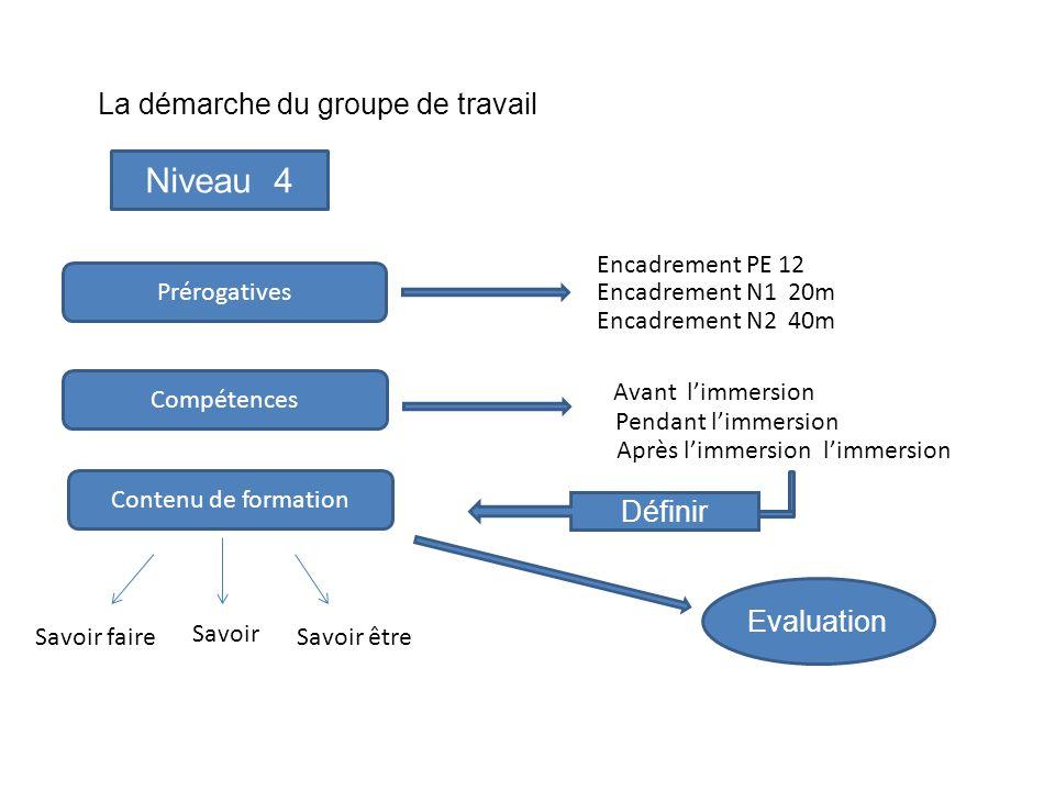 La démarche du groupe de travail Niveau 4 Prérogatives Compétences Contenu de formation Savoir faire Savoir Savoir être Encadrement PE 12 Encadrement