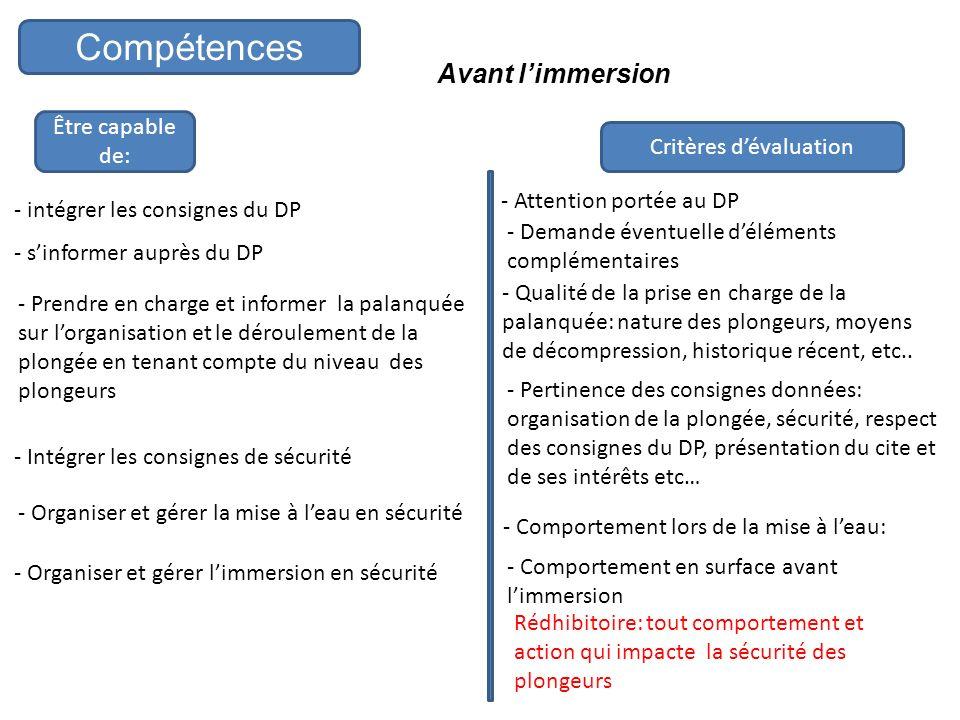 Compétences Avant limmersion Être capable de: - intégrer les consignes du DP - sinformer auprès du DP - Prendre en charge et informer la palanquée sur