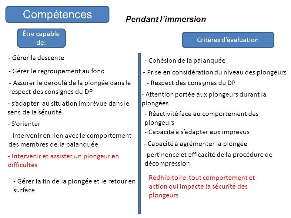 Pendant limmersion Être capable de: Critères dévaluation Compétences - Gérer la descente - Gérer le regroupement au fond - Assurer le déroulé de la pl