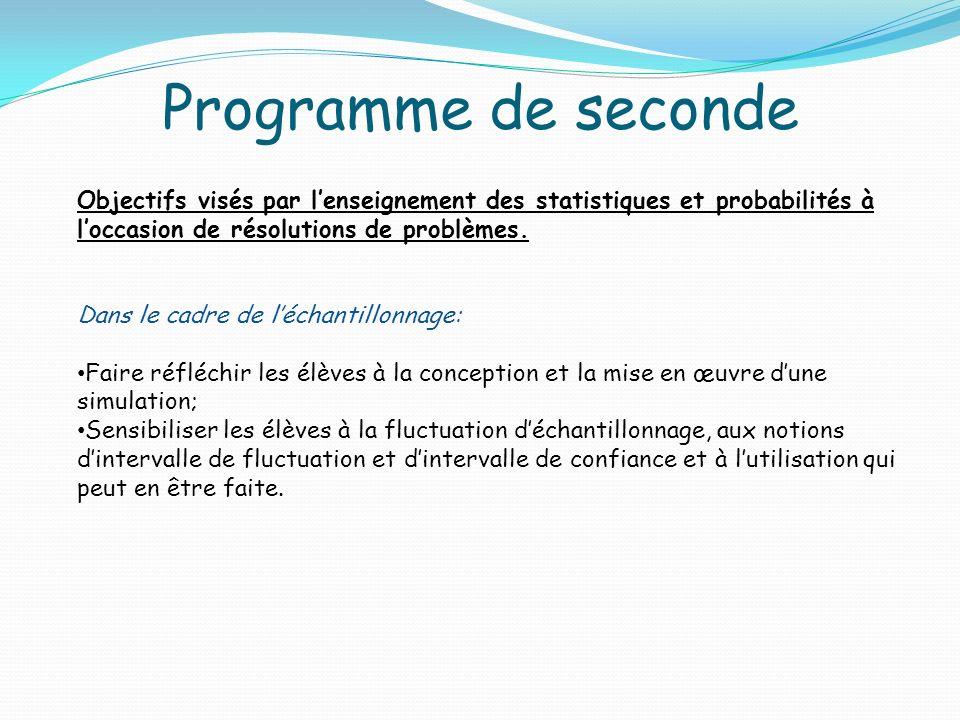 Programme de seconde Objectifs visés par lenseignement des statistiques et probabilités à loccasion de résolutions de problèmes. Dans le cadre de léch