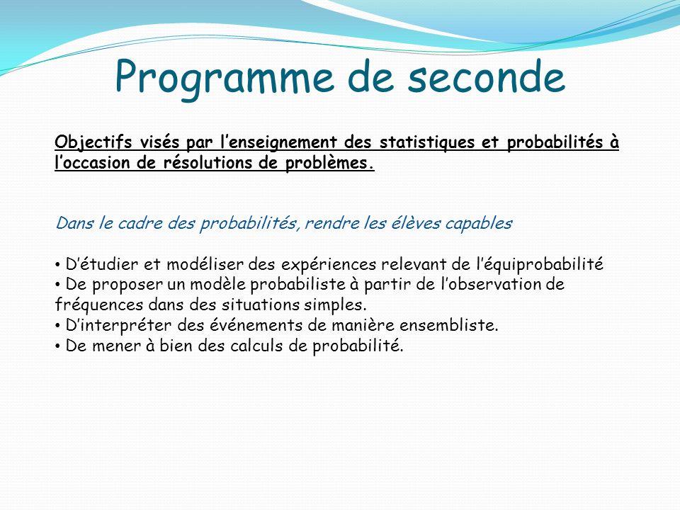 Programme de seconde Objectifs visés par lenseignement des statistiques et probabilités à loccasion de résolutions de problèmes. Dans le cadre des pro