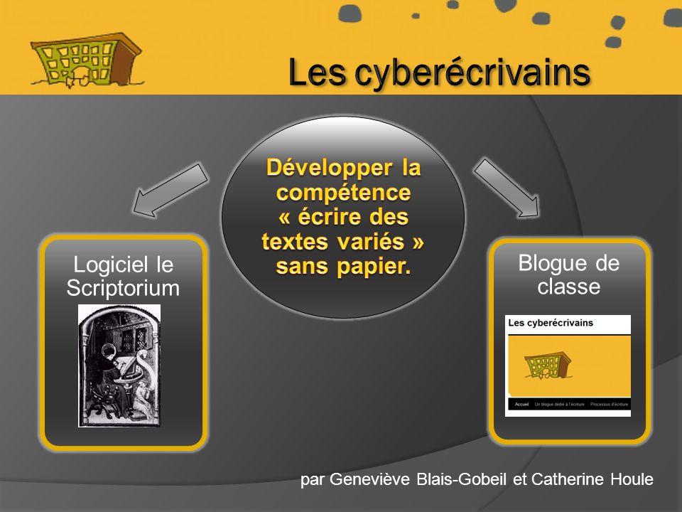 par Geneviève Blais-Gobeil et Catherine Houle Logiciel le Scriptorium Blogue de classe