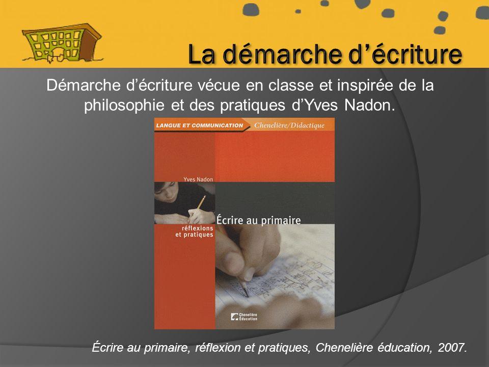 Démarche décriture vécue en classe et inspirée de la philosophie et des pratiques dYves Nadon.