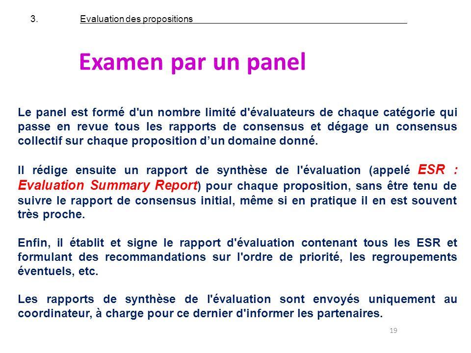 19 Examen par un panel Le panel est formé d'un nombre limité d'évaluateurs de chaque catégorie qui passe en revue tous les rapports de consensus et dé