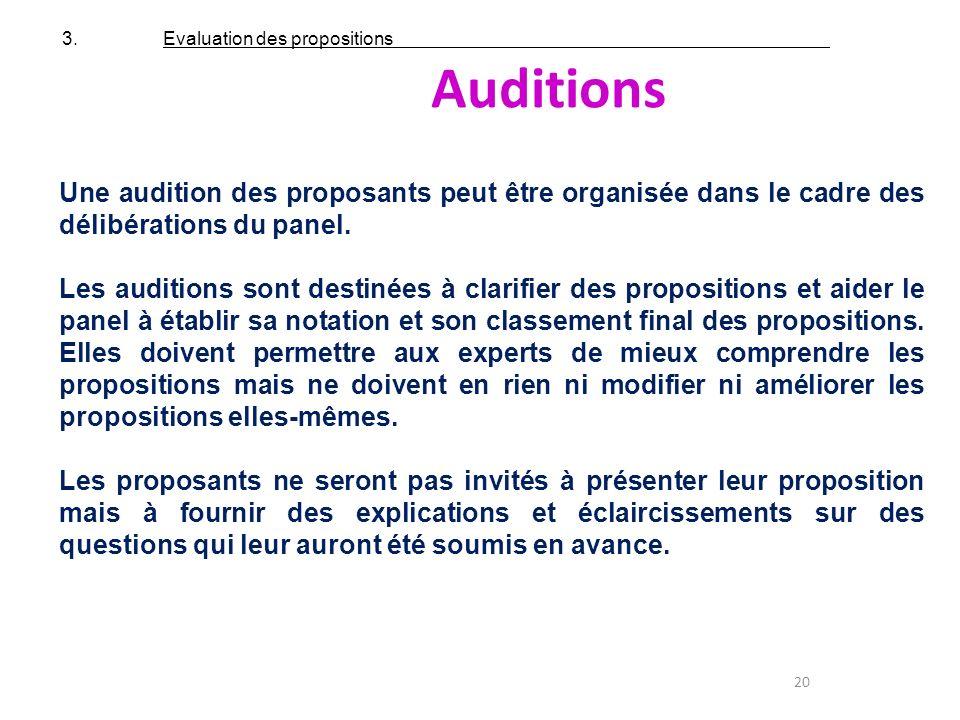 20 Auditions Une audition des proposants peut être organisée dans le cadre des délibérations du panel. Les auditions sont destinées à clarifier des pr