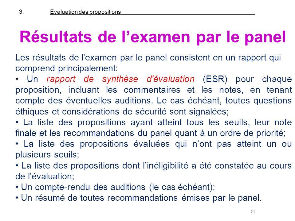 21 Résultats de lexamen par le panel Les résultats de lexamen par le panel consistent en un rapport qui comprend principalement: Un rapport de synthès