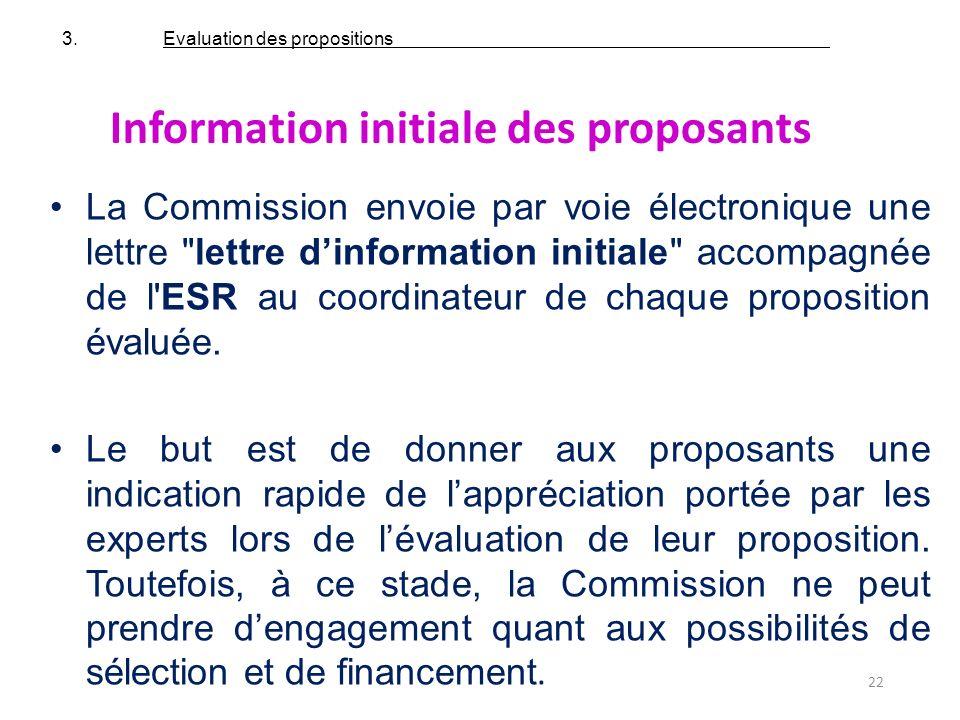22 Information initiale des proposants La Commission envoie par voie électronique une lettre