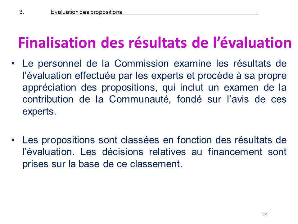 23 Finalisation des résultats de lévaluation Le personnel de la Commission examine les résultats de lévaluation effectuée par les experts et procède à