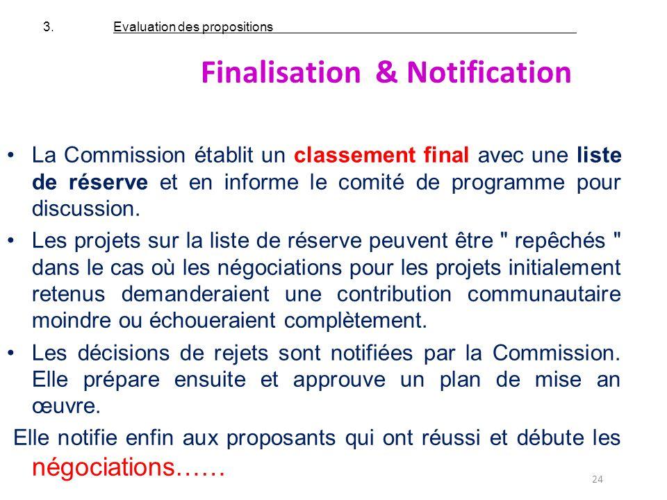24 La Commission établit un classement final avec une liste de réserve et en informe le comité de programme pour discussion. Les projets sur la liste