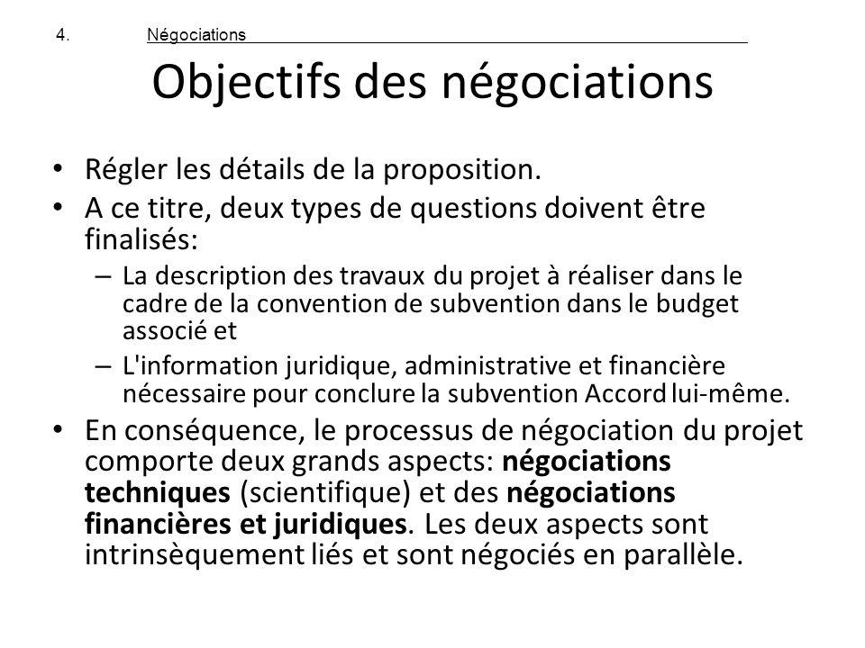 Objectifs des négociations Régler les détails de la proposition. A ce titre, deux types de questions doivent être finalisés: – La description des trav