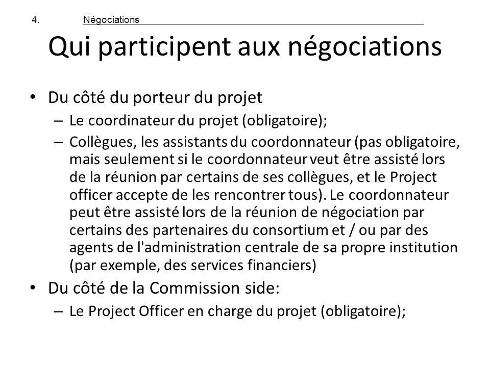 Qui participent aux négociations Du côté du porteur du projet – Le coordinateur du projet (obligatoire); – Collègues, les assistants du coordonnateur