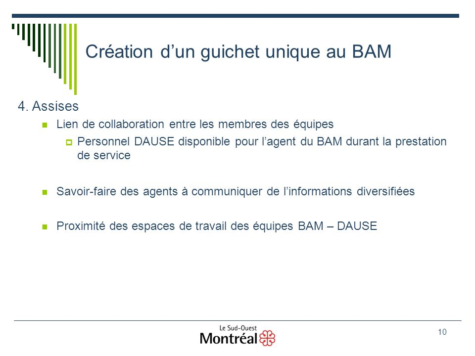 10 Création dun guichet unique au BAM 4.