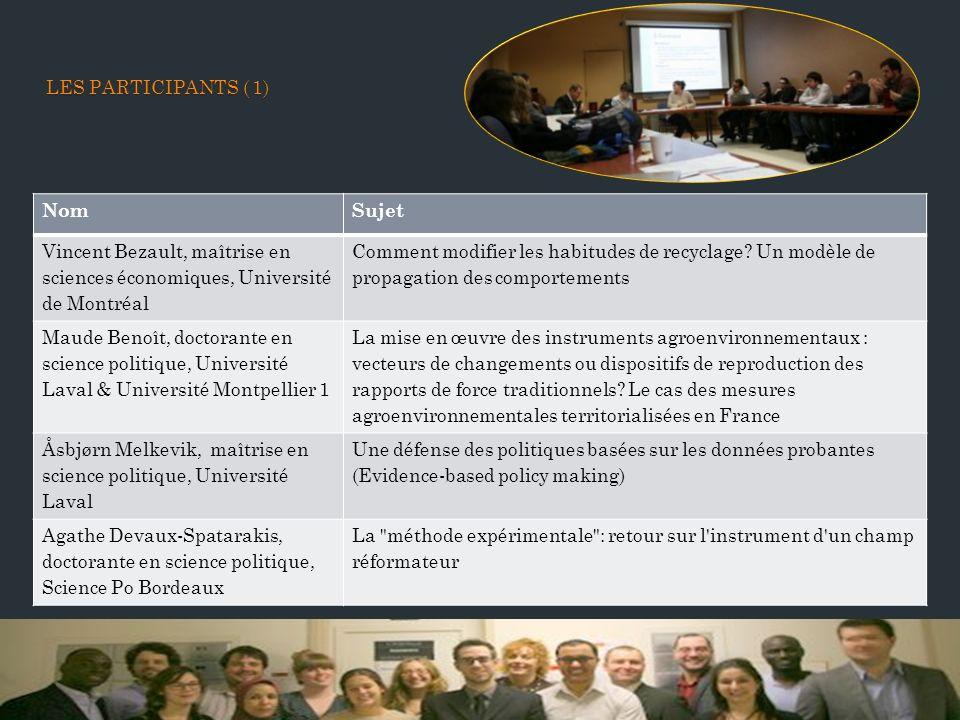 LES PARTICIPANTS ( 1) LES PARTICIPANTS ( 1) NomSujet Vincent Bezault, maîtrise en sciences économiques, Université de Montréal Comment modifier les habitudes de recyclage.