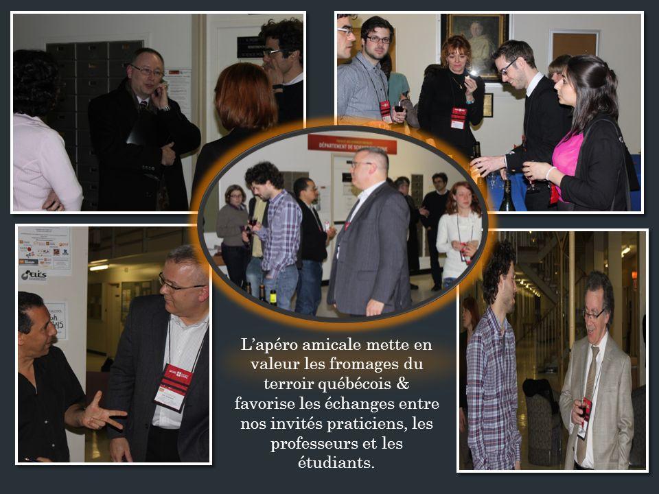 Lapéro amicale mette en valeur les fromages du terroir québécois & favorise les échanges entre nos invités praticiens, les professeurs et les étudiants.