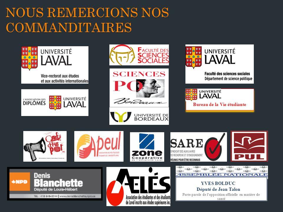 NOUS REMERCIONS NOS COMMANDITAIRES Bureau de la Vie étudiante Porte-parole de lopposition officielle en matière de santé YVES BOLDUC Député de Jean Talon
