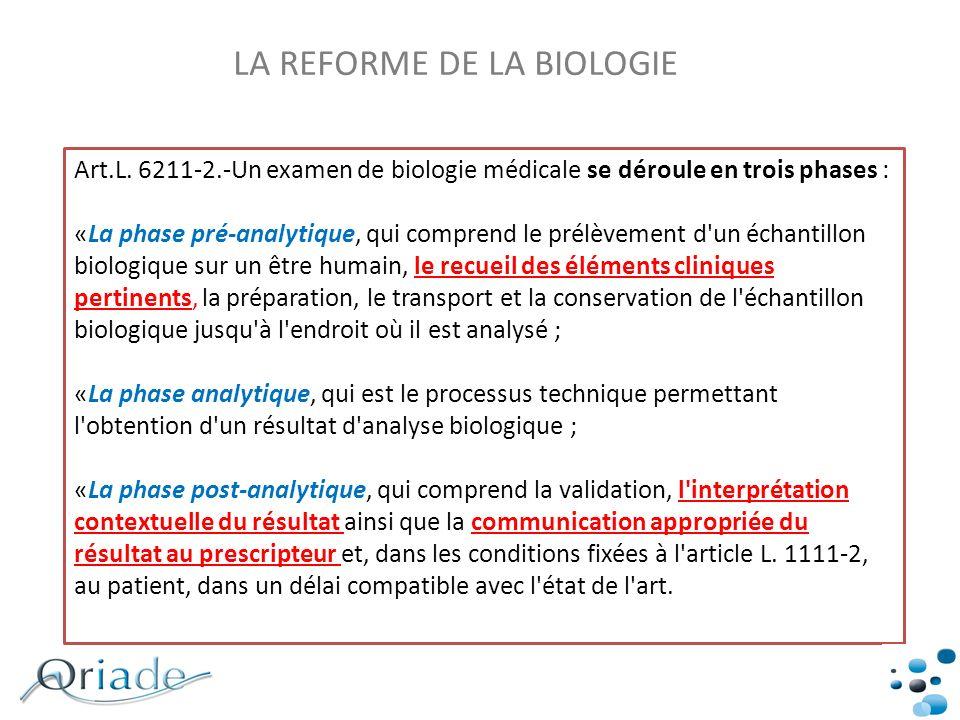 Art.L. 6211-2.-Un examen de biologie médicale se déroule en trois phases : «La phase pré-analytique, qui comprend le prélèvement d'un échantillon biol