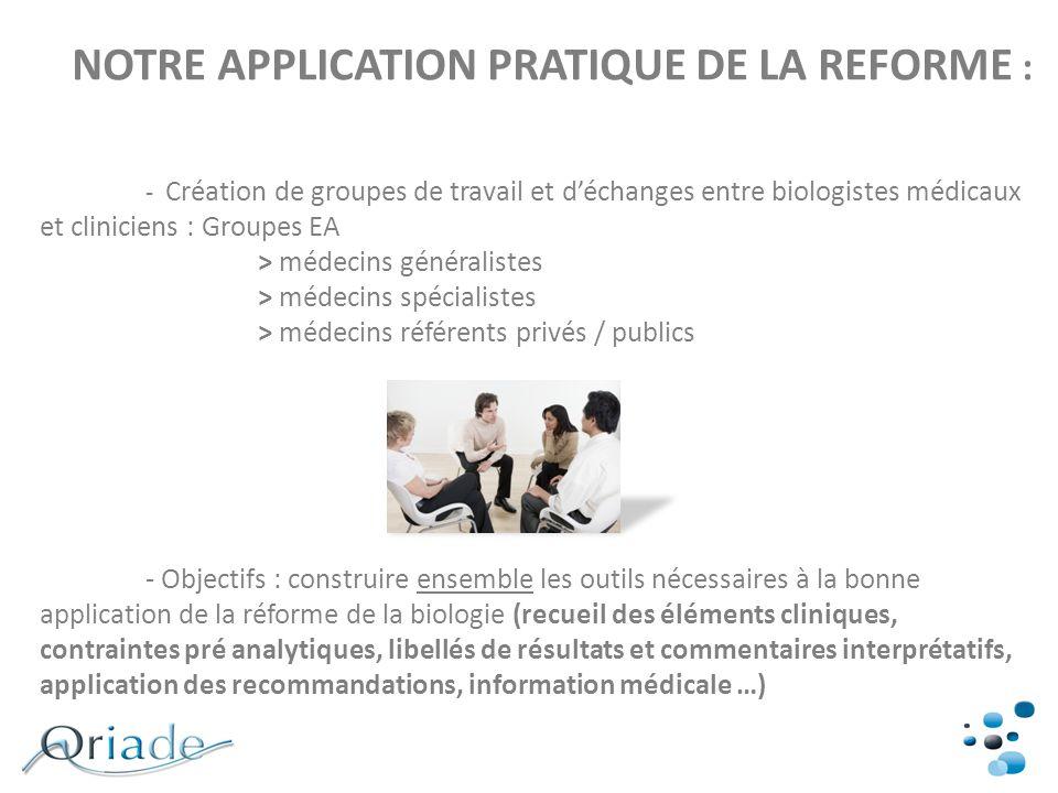 NOTRE APPLICATION PRATIQUE DE LA REFORME : - Création de groupes de travail et déchanges entre biologistes médicaux et cliniciens : Groupes EA > médec