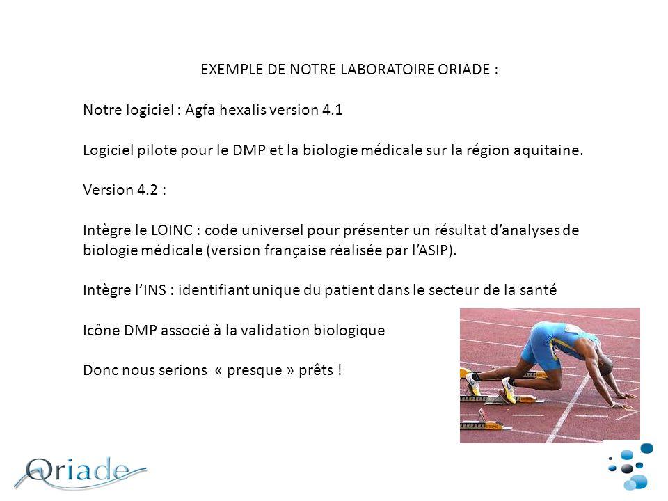 EXEMPLE DE NOTRE LABORATOIRE ORIADE : Notre logiciel : Agfa hexalis version 4.1 Logiciel pilote pour le DMP et la biologie médicale sur la région aqui