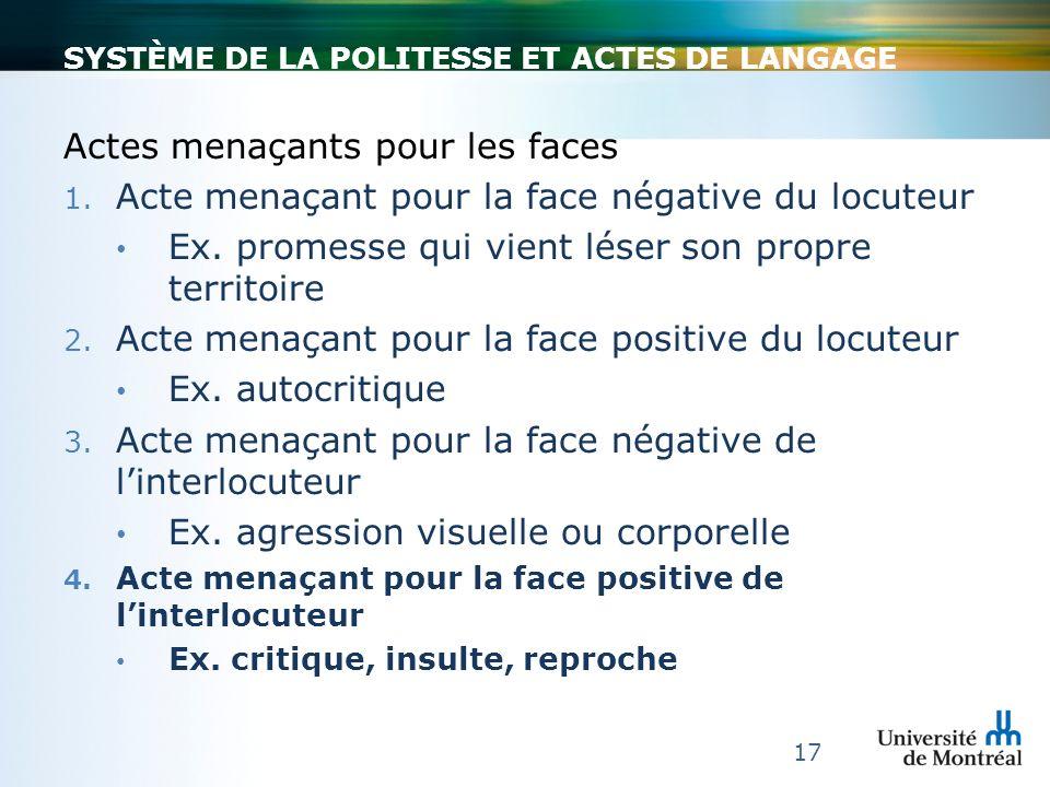 SYSTÈME DE LA POLITESSE ET ACTES DE LANGAGE Actes menaçants pour les faces 1. Acte menaçant pour la face négative du locuteur Ex. promesse qui vient l