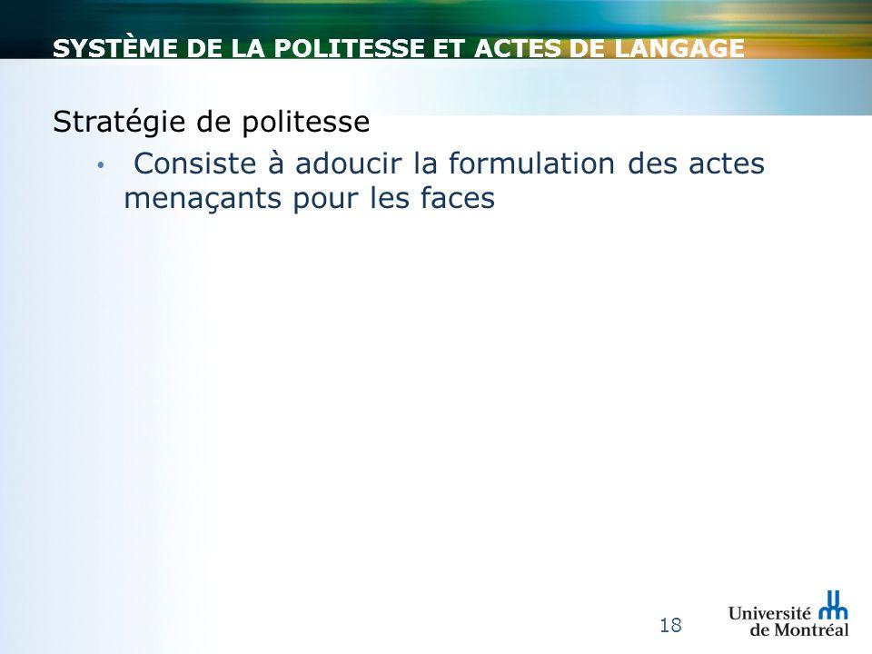 SYSTÈME DE LA POLITESSE ET ACTES DE LANGAGE Stratégie de politesse Consiste à adoucir la formulation des actes menaçants pour les faces 18