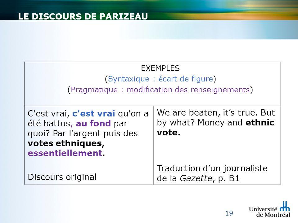 LE DISCOURS DE PARIZEAU 19 EXEMPLES (Syntaxique : écart de figure) (Pragmatique : modification des renseignements) C'est vrai, c'est vrai qu'on a été