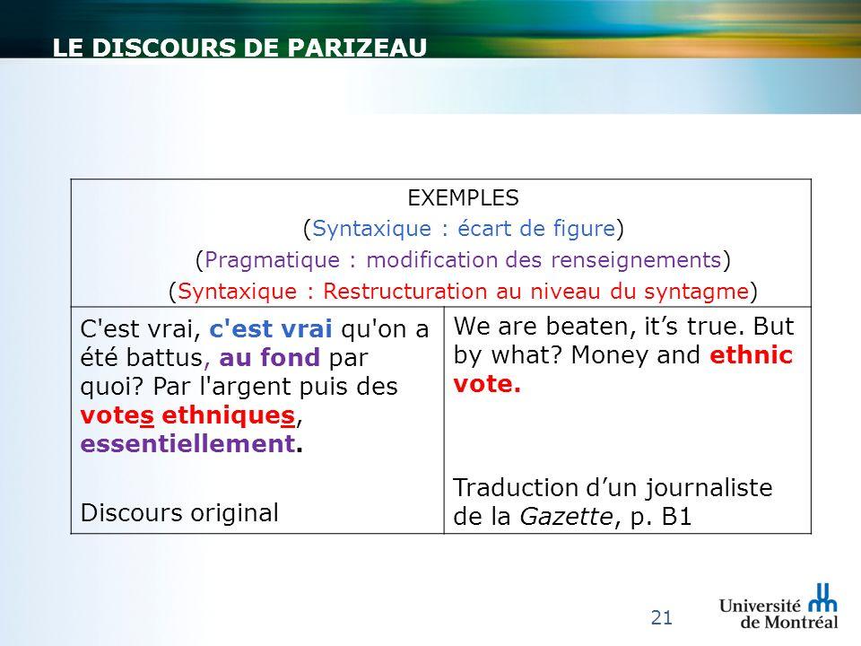 LE DISCOURS DE PARIZEAU 21 EXEMPLES (Syntaxique : écart de figure) (Pragmatique : modification des renseignements) (Syntaxique : Restructuration au ni