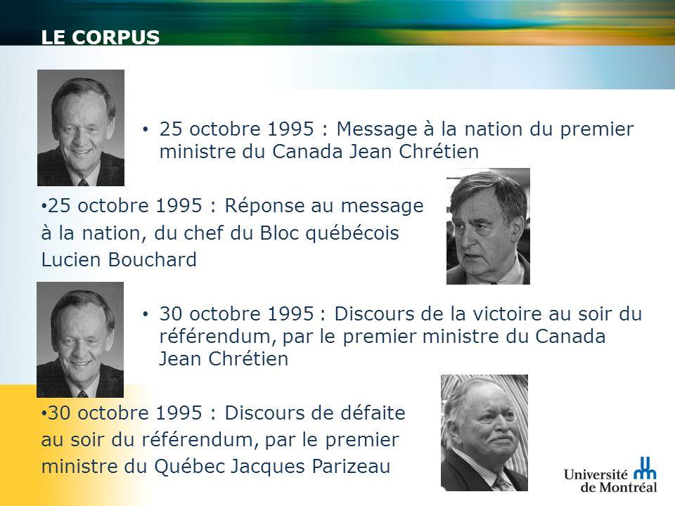 LE CORPUS 25 octobre 1995 : Message à la nation du premier ministre du Canada Jean Chrétien 25 octobre 1995 : Réponse au message à la nation, du chef